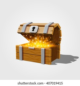 Open chest with gold. Vector illustration