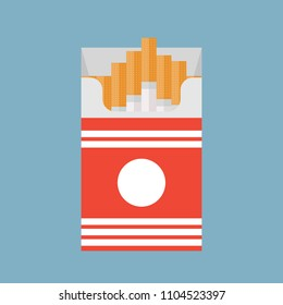 Open cigarettes pack box flat style vector illustration isolated on a background, icon logo design idea, symbol, smoke problem concept, narcotic, product, production, tobacco, cigarette symbol.