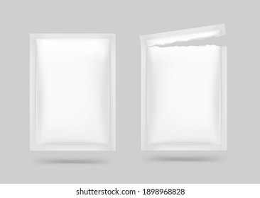 Open and close blank sachet packaging for food, cosmetic and hygiene. Vector illustration. Ready for your design. EPS10.
