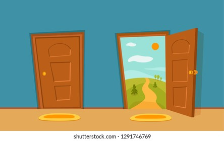 Open and close door cartoon colorful vector illustration with valley summer sun landscape with road and trees. House apartment entrance corridor flat design. Home exit interior view freedom concept.