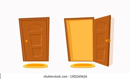 Open  and close door cartoon colorful vector illustration. House apartment entrance corridor flat design background.  Home exit interior view freedom concept.