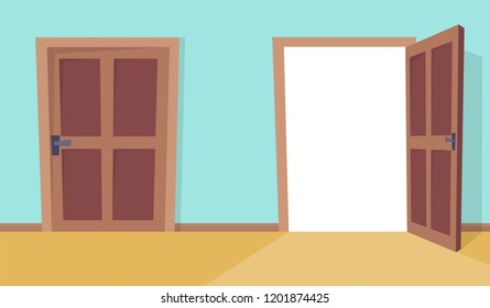 Open and close doors. Flat cartoon style vector illustration.