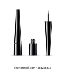 Open and close eye liner in product tube. Vector realistic illustration
