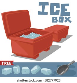 Open and close ice boxes with ice and ice scoop