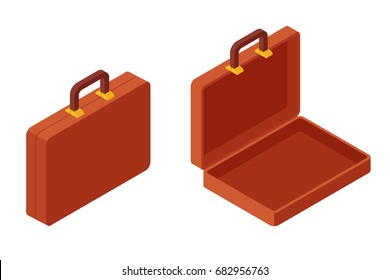 Open and close portfolio on white background, isolated isometric flat vector illustration