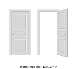 Open and close realistic door isolated on white background