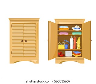 open and close wardrobe with clothes. vector illustration