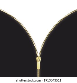 Open close zip. Realistic zipper fastener reveal vector. Metallic gold elegant zip locker. Graphic illustration
