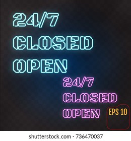 Open, Closed,  24/7 Hours Neon Light on Brick Wall. 24 Hours Night Club / Bar Neon Sign. Vector Illustration.