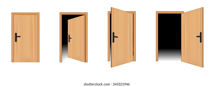 Open and closed 3d brown wooden door concept. A door is opened for four stages. Four different positions of one door. vector art image illustration, realistic design isolated on white background