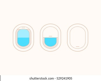 Open and closed airplane window icons set