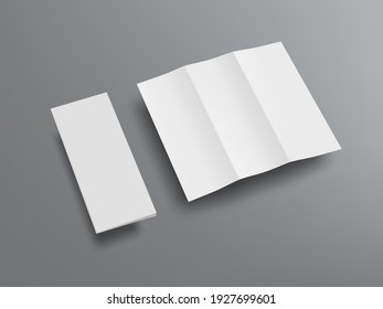 Open And Closed Blank Trifold Paper Booklet With Shadow. EPS10 Vector