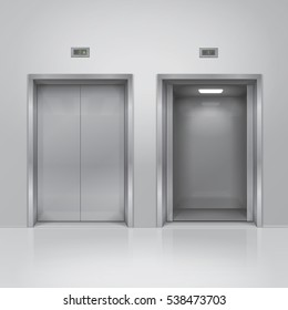 Open and closed chrome metal building elevator doors. Realistic vector illustration.