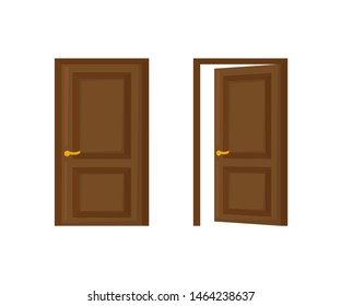 open and closed door in flat style, vector
