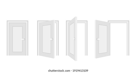 Open and closed door home interior, entrance doorway. White wooden  doors template in different stages of opening. Indoor interior. Welcome concept. Vector illustration isolated on white background