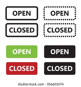 Open Closed door label with date and time vector sign