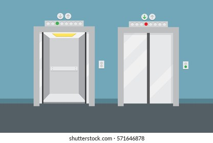 Open and closed elevator doors. Flat design, vector illustration