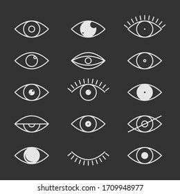 Open and closed eyes images, sleeping eye shapes with eyelash, vector supervision and searching signs