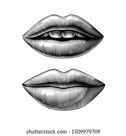 Open and closed female sexy mouth isolated on white. Vintage engraving stylized drawing. Vector illustration