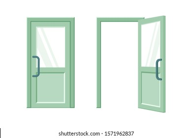 Open and closed green door flat vector illustration. Room, office entrance. Contemporary plastic door with glass inserts. Exterior design element. Modern doorway isolated on white background