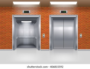 Open and Closed Metal Elevator Doors in a Brick Wall