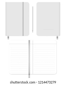Open and closed note book with ribbon bookmark and elastic closure strap. Front, back cover, spread. Lined diary. Vector mock-up.