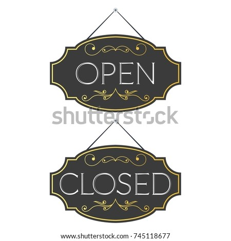 Open closed ornate vintage retro signs stock vector royalty free open and closed ornate vintage or retro signs template design for shop restaurant or maxwellsz