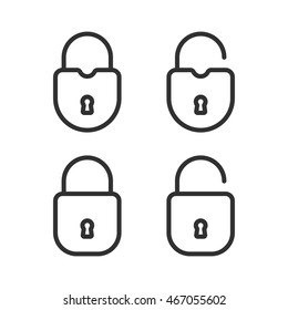 Open and closed padlocks isolated on white background. Flat linear icons. Lock icons