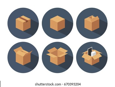 Open and closed recycle brown carton delivery packaging box with fragile signs. Collection vector illustration isolated box with shadow on white background for web, icon, banner, info graphic.