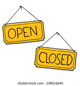 Open Closed sign. Cartoon illustration isolated on white background  sc 1 st  Shutterstock & Door Placard Images Stock Photos u0026 Vectors | Shutterstock