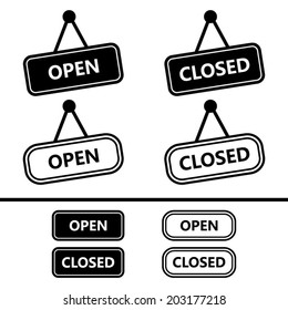 Open Closed Sign Icons