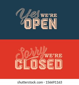 Open and Closed Sign - information retail store, vector illustration.