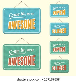 Open and Closed Signs with Novelty Text