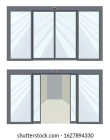 Open and closed sliding door. vector