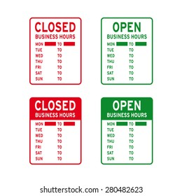 Open closed store business office sign vector set