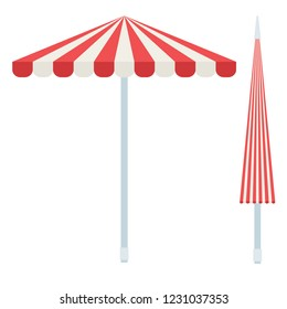 Open and closed striped beach umbrellas vector flat icon isolated on white