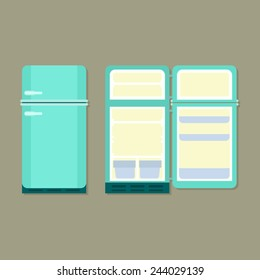 open and closed vintage refrigerator