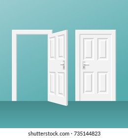 Open and closed white door isolated on background. Vector illustration flat style. Isolated on white background. Element of interesting design.