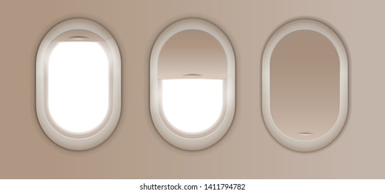 Open and closed window in plane. Gray airplane window, gray light template, plain aircraft window white space.
