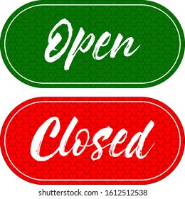 Open, closed written door card. Can be hung on the door in work places and stores