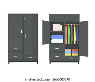 Open and closet wardrobe, furniture in flat style.