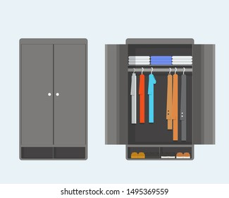 Open and closet wardrobe, regular wardrobe clothes, modern and simple wardrobe, can be used for interior setup, furniture in flat style