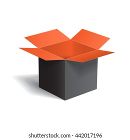 Open color box isolated on white background. Vector illustration.