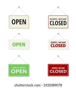 Open, come in, sorry we are closed hanging signs on door set in realistic style. Store business boards, plaques red, green collection. Storefront accessories. Vector illustration isolated on white.
