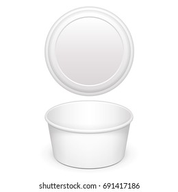 Open Cup Tub Food Plastic Container With Lid For Dessert, Yogurt, Ice Cream, Sour cream Or Snack. Illustration Isolated On White Background. Mock Up Template Ready For Your Design. Vector EPS10