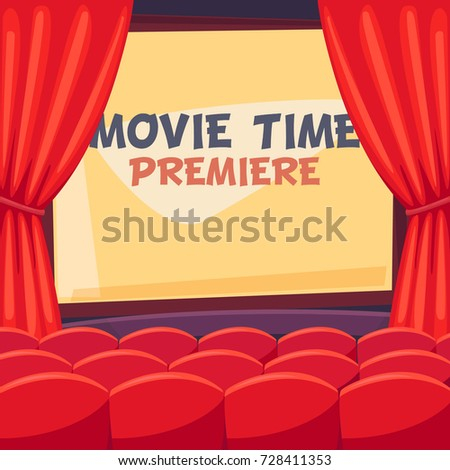 fc1d783ed Royalty-free stock vector images ID  728411353. Open curtains for film  premiere - Vector