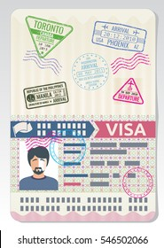 Open custom passport with visa stamps. Business travel vector concept.