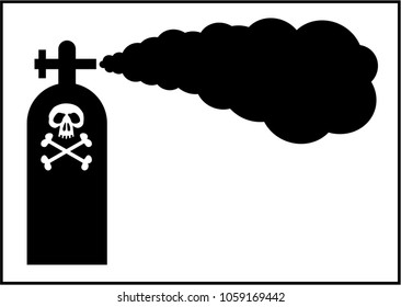 Open cylinder of poisonous gas