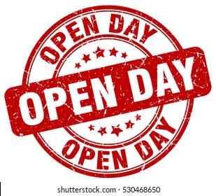 open day. stamp. red round grunge vintage open day sign