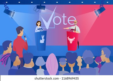 Open Debates Before Vote Cartoon Vector Concept with Leaders of Opposing Political Parties Conducting Intense Discussion on Public Debates, Responding on Journalists Question During Election Campaign